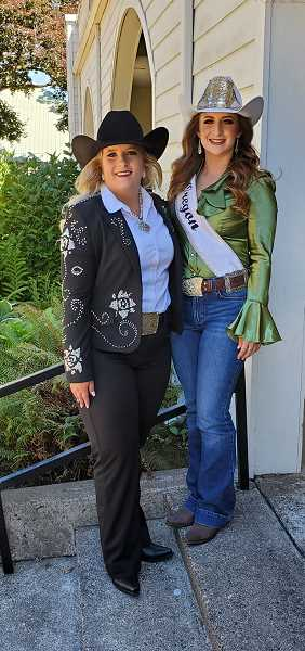 COURTESY PHOTO: MRO - Contestant Katie Ralston, left, of Cottage Grove, pauses for a photo with the reigning Samantha Henricks.