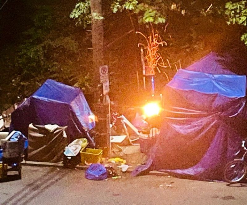 COURTESY TJ BROWNING - A fire was set at a campsite near Laurelhurst Park in Portland's east side recently.