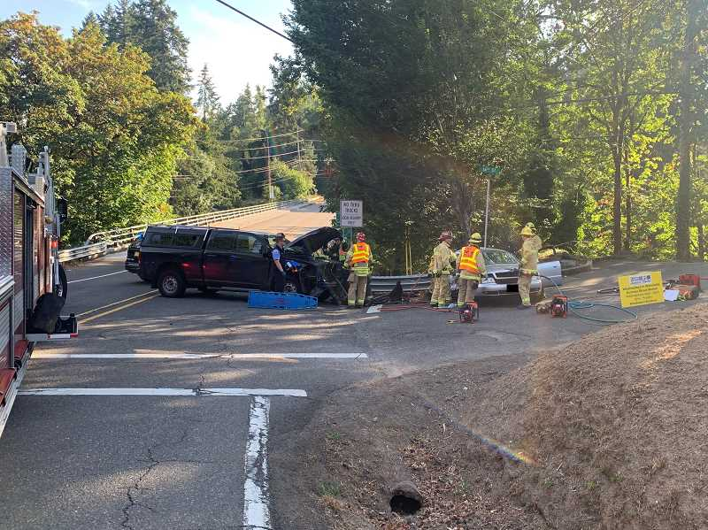 TVF&R rescues trapped passenger after West Linn crash