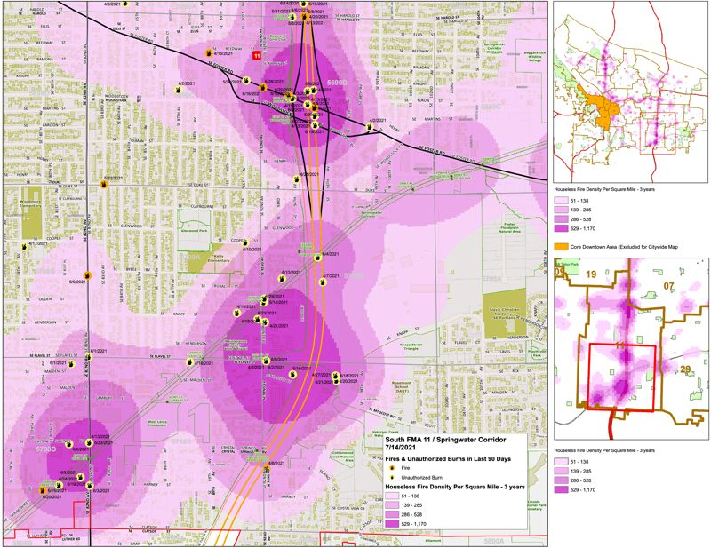 COURTESY CITY OF PORTLAND - An example of a hot spot risk map.