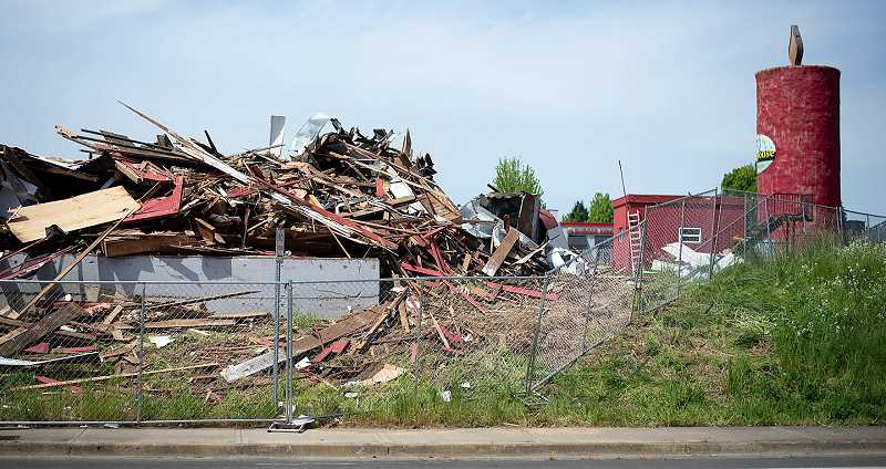 PMG PHOTO: ANNA DEL SAVIO - The barn next to the Peace Candle in Scappoose was demolished in 2020.