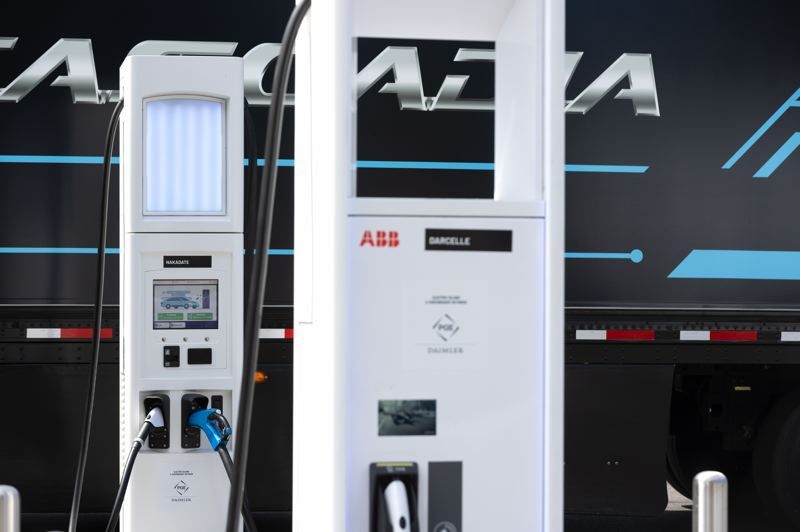PMG PHOTO: JONATHAN HOUSE - An electric charging station for big-rigs on Swan Island is shown here.