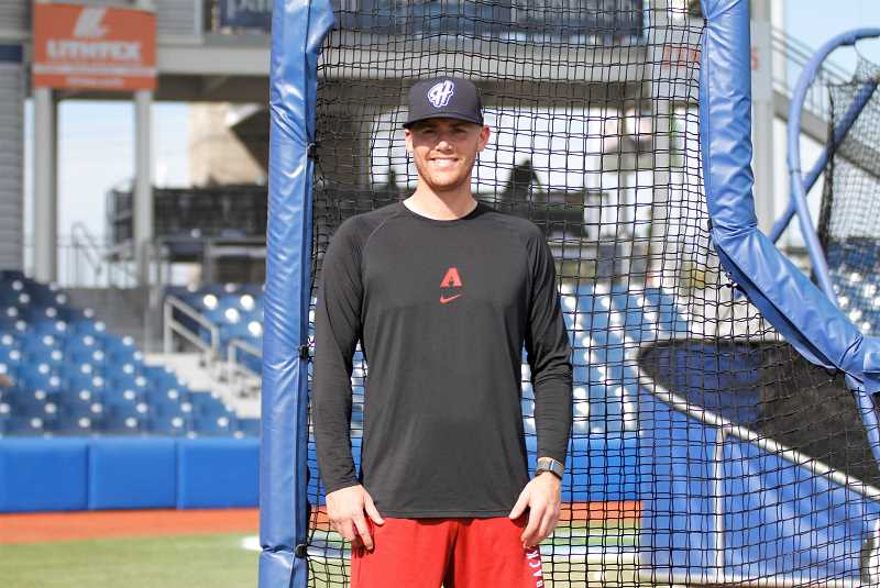 PMG PHOTO: WADE EVANSON - Carson Kelly of the Arizona Diamondbacks poses for a photo during batting practice prior to the Hops game July 27. Kelly is in Hillsboro rehabbing a fractured wrist.
