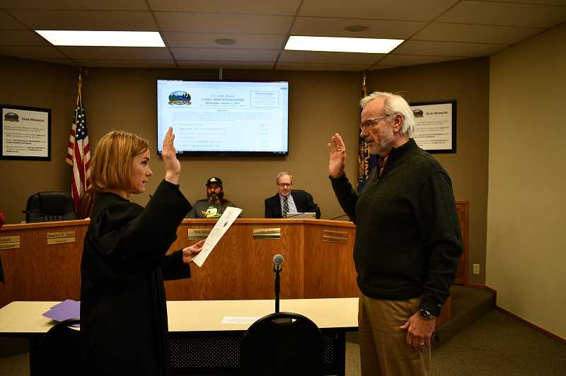 COURTESY PHOTO: CITY OF ST. HELENS - St. Helens Municipal Court Judge Amy Lindgren at the swearing in of city councilor Doug Morten.