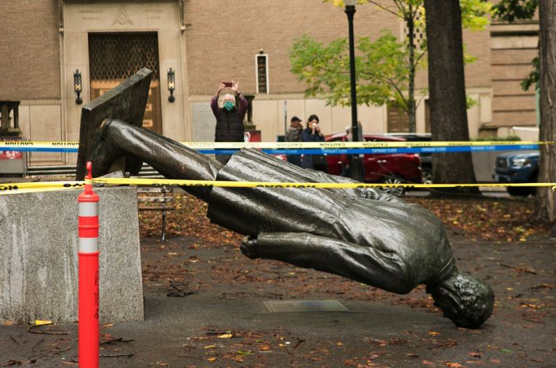 PMG FILE PHOTO - Protesters toppled the statue of President Abraham Lincoln in the South Park Blocks last year.