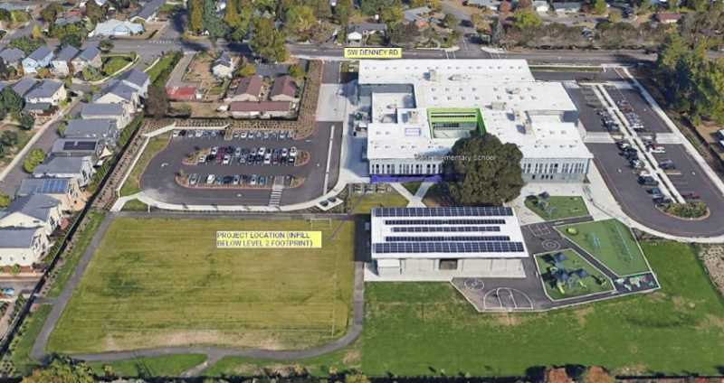 COURTESY PHOTO: BEAVERTON SCHOOL DISTRICT - An aerial view of the proposed location for new classrooms at Vose Elementary School.