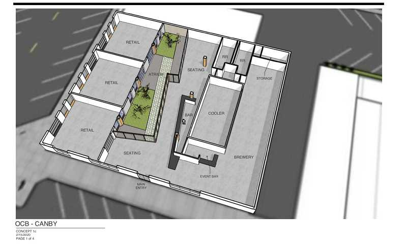 COURTESY PHOTO: CITY OF CANBY - Owner Bryce Morrow's initial plans had an atrium in the building for seating, as pictured, but that has evolved into the new rooftop seating plans.