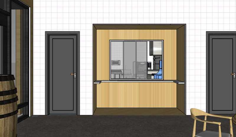 COURTESY PHOTO: CITY OF CANBY - The inside of the building will have French oak barrels and four 'micro-kitchens' as pictured to house food vendors.