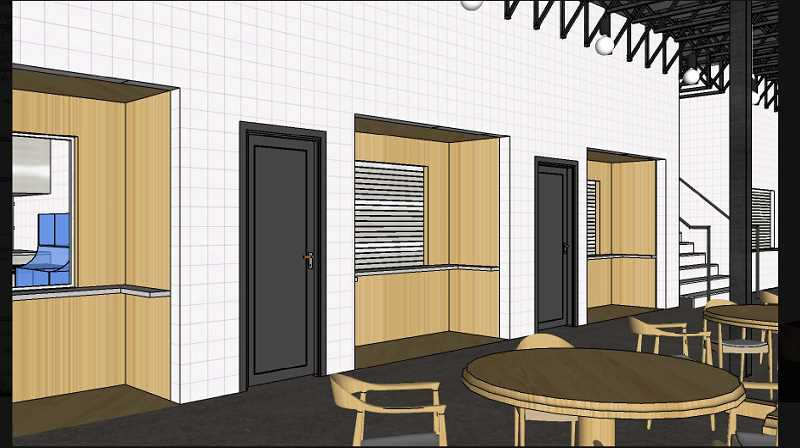 COURTESY PHOTO: CITY OF CANBY - This rendering shows the brewery's dining area and the stairs leading up to the roof.