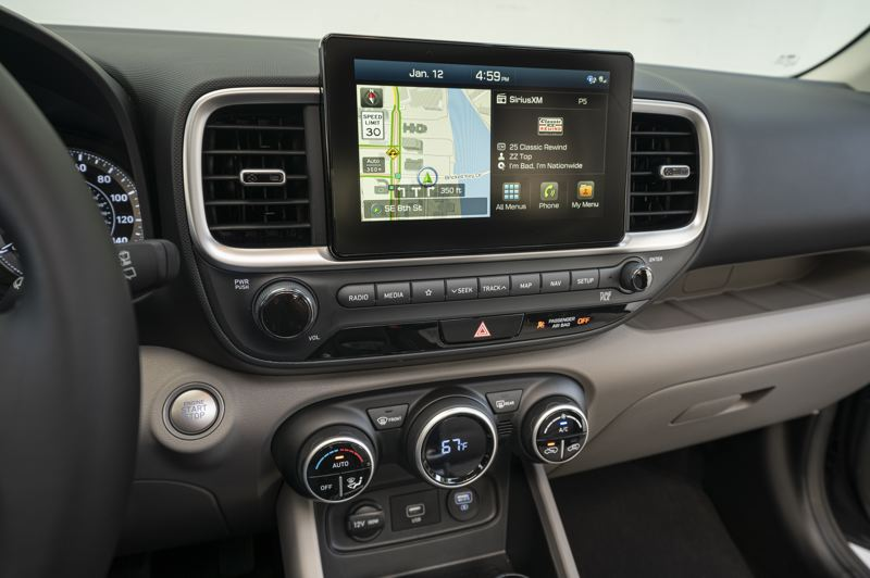 COURTESY HYUNDAI MOTOR AMERICA - The display in the 2022 Hyundai Venue is not very stylish but it works well.