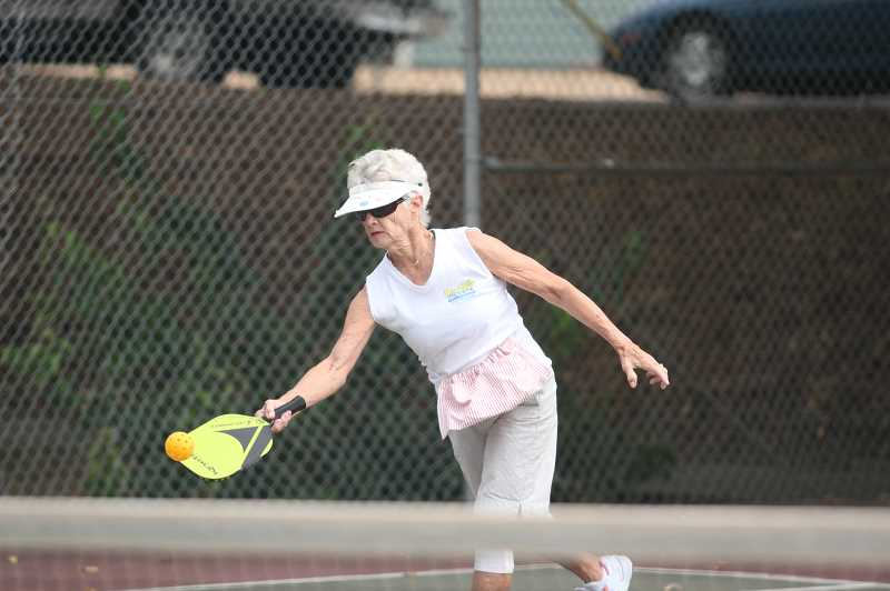 PMG PHOTO: TANNER RUSS - Donna Stone, a resident of Senior Estates, helped bring pickleball to the city of Woodburn.