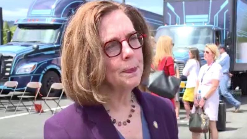 COURTESY PHOTO: KOIN 6 NEWS - Oregon Gov. Kate Brown talks to reporter on Tuesday,  July 29, and about the new, rising risk of COVID-19 in Oregon.