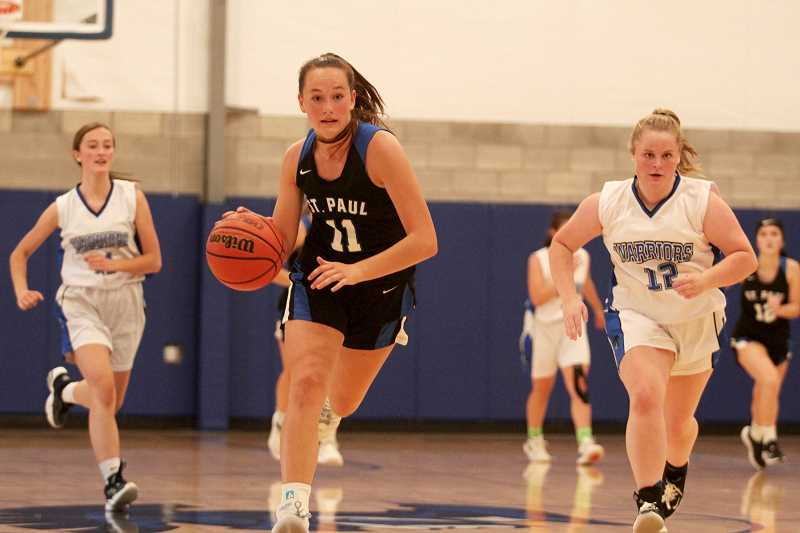 PMG PHOTO: PHIL HAWKINS - St. Paul freshman Stella Koch is a key building block in the Buckaroos' youth movement that included five freshmen and three sophomores this season. Koch was also among Casco League's all-conference players.