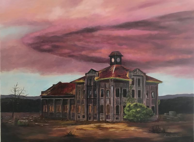 COURTESY PHOTO - 'GasCo Building-Inspiring the Imagination' is a painting by Laura Blackwell that will be on display during the upcoming Arts Council of Lake Oswego exhibit. The building, which has since been demolished, was located on Highway 30 near St. John's Bridge in the northwest industrial area of Portland.