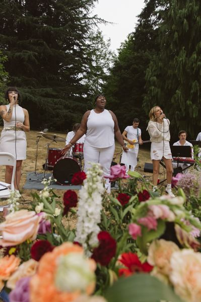 COURTESY PHOTO: THERESA BEAR - The Last Words band and singers did a preview of their cemetery concert July 31 at Gresham Pioneer Cemetery.