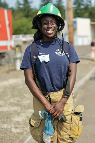 PMG PHOTO: JONATHAN VILLAGOMEZ - Venus Howard, who was a previous camp attendee in 2018, is now a counselor at the Metro Fire Camp. She is currently an intern at Hood River Fire & EMS.