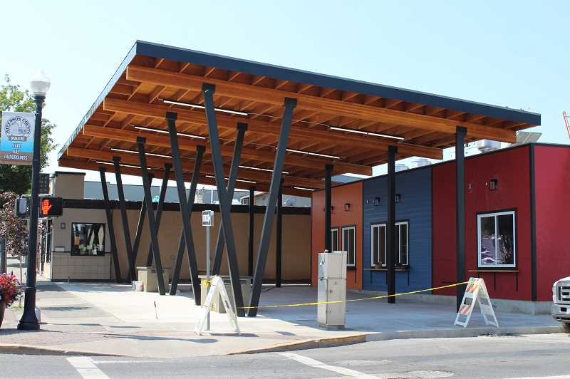 HOLLY SCHOLZ/MADRAS PIONEER  - Reynoso Food Court is nearing completion and will offer Mexican, Korean and sushi at the corner of Southwest Fifth and Southwest D streets in Madras.