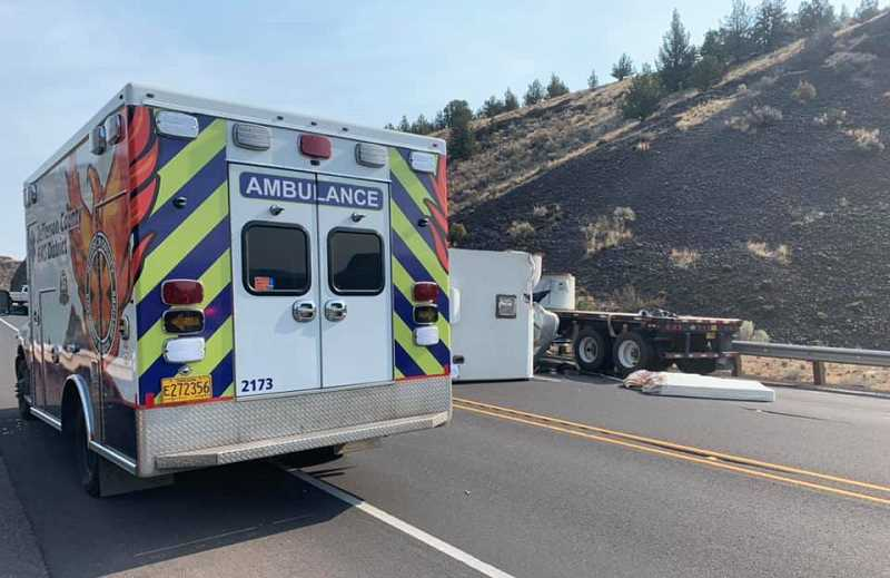 JEFFERSON COUNTY SHERIFF PHOTO - A silver Dodge pickup crossed into the northbound lanes and hit a Commercial Motor Vehicle head-on. Both drivers died in the Cow Canyon crash Aug. 3.