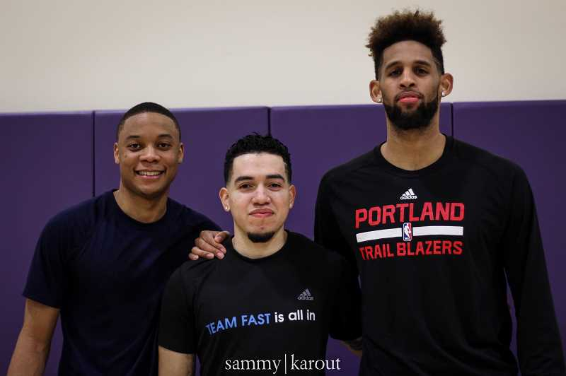 COURTESY: SPORT SOURCE/ SAMMY KAROUT - NBA trainer Casey Trujeque (center) with former Trailblazer Allen Crabbe (right). Casey Trujeque, co-founder and CEO, used to train Trailblazer Allen Crabbe. Trujeque found that even for a professional athlete it was hard to find a workout facility for a few hours, especially when on the road.
