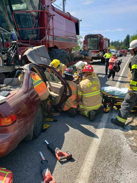 Man transported by Life Flight after crash with combine