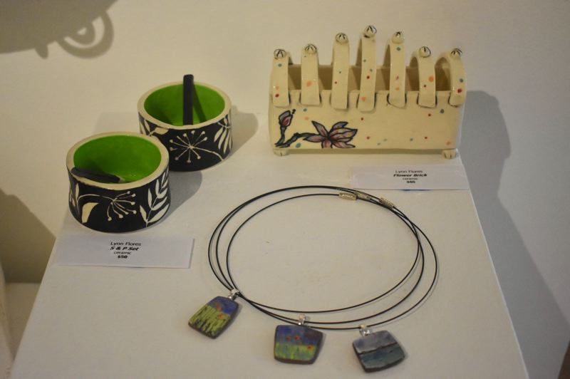 PMG PHOTO: EMILY LINDSTRAND - Lynn Flores created a variety of ceramic pieces for the August Spiral Gallery show.