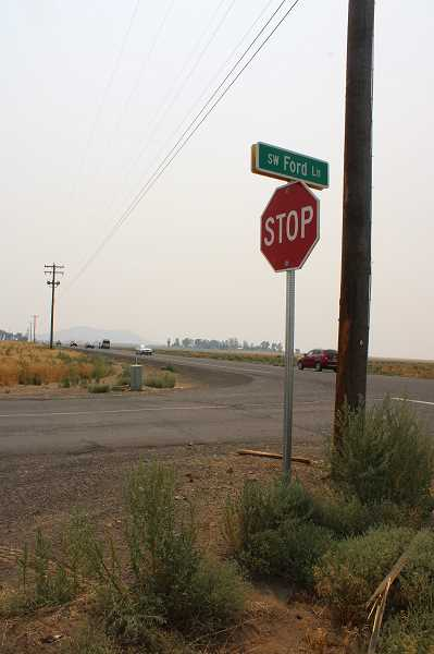 PAT KRUIS/MADRAS PIONEER - Closing Bear Drive calls for improvements at Ford and Falcon Lanes. ODOT will move the ultility poles and widen the pavement to improve the turning radius for the large trucks a d farm machinery that currently use Bear Drive for access east of Highway 97.