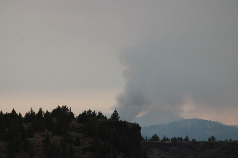 PAT KRUIS/MADRAS PIONEER - A lightning-sparked fire has prompted evacuation notices for campgrounds along the Metolius river. Crews are actively fighting the fire.