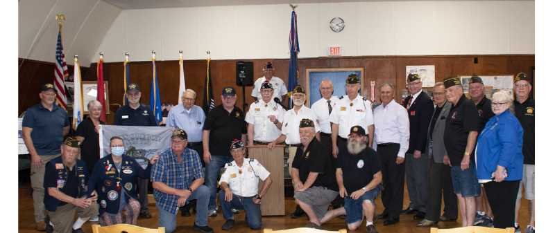 COURTESY PHOTO: DAVE VROOMAN - A Clackamas County Veterans of Foreign Wars post donates $10,000 to the committee for commissioning USS Oregon, a new U.S. Navy submarine.