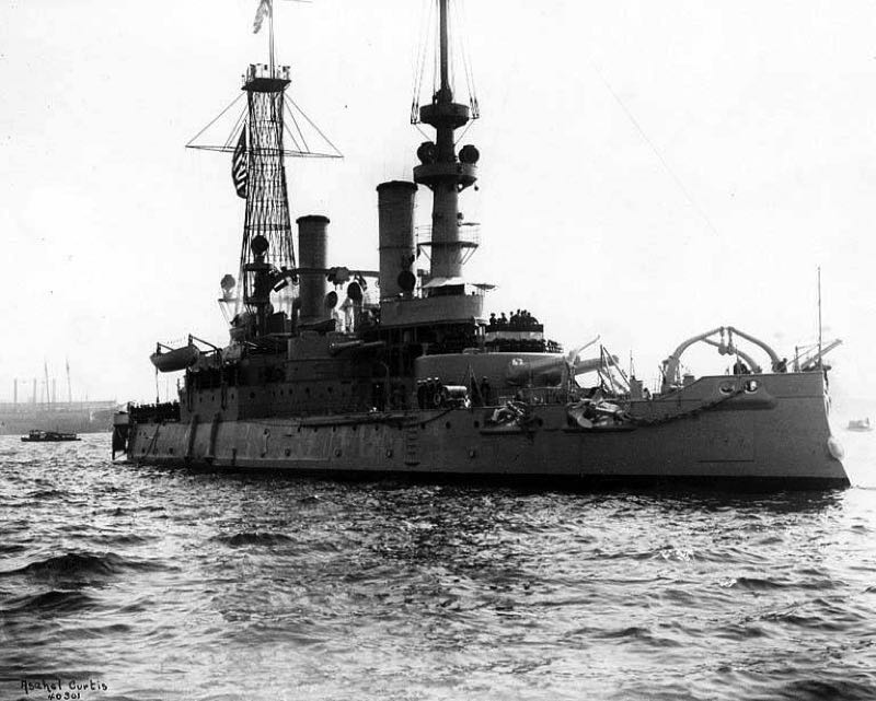 COURTESY PHOTO: WIKIMEDIA/CURTIS - The battleship USS Oregon as it appeared in 1919 while serving as the flagship for President Woodrow Wilson's review of the Pacific Fleet.