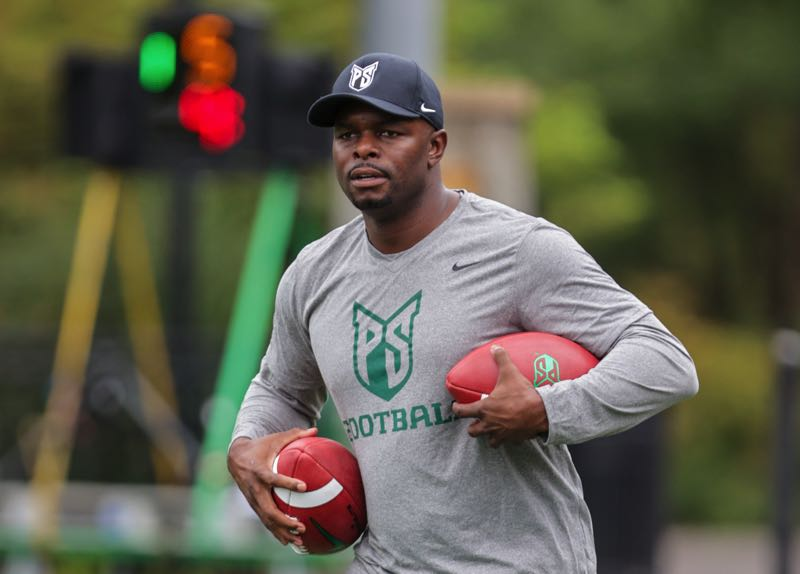 PMG PHOTO: JONATHAN VILLAGOMEZ - NFL veteran and Arizona State receiving record-holder Derek Hagan is pictured at his first practice coaching receivers for Portland State.