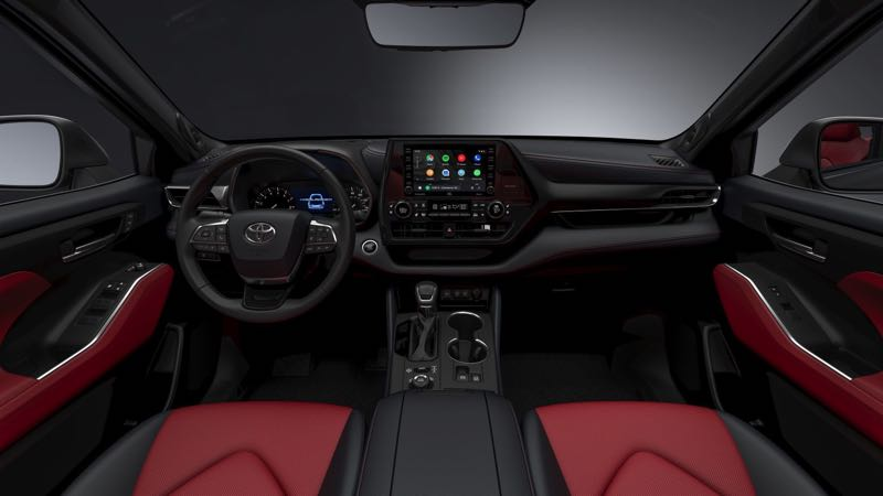 COURTESY TOYOTA MOTOR USA - The 2021 Toyota Highlander XSE features unique interior trim and available red and an available black leather interior.
