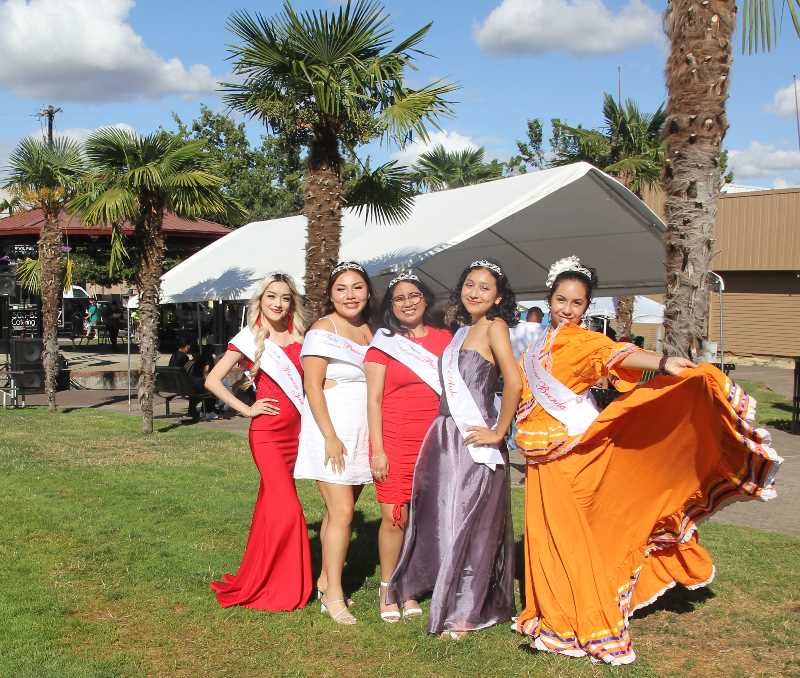 PMG PHOTO: JUSTIN MUCH - Fiesta Court, left to right, Jael Garcia, Eveline Morales, Jocelyn Mendez, Aide Robles and Brenda Martinez await the coronation; Fiesta Mexicana Friday, Aug. 6,2021.