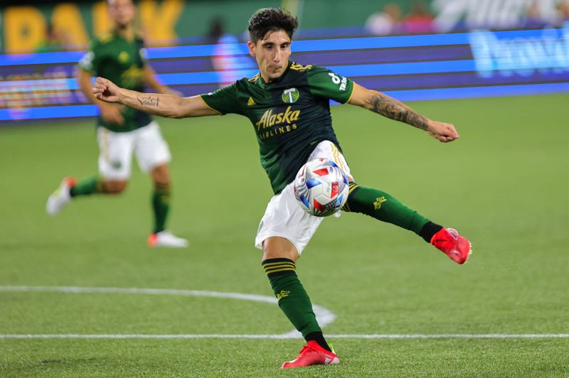 PMG PHOTO: JONATHAN VILLAGOMEZ - Timbers left back Claudio Bravo had several chances to score his first MLS goal on Saturday. He missed the target, but helped Portland defend its lead late in the 3-2 win over Real Salt Lake.