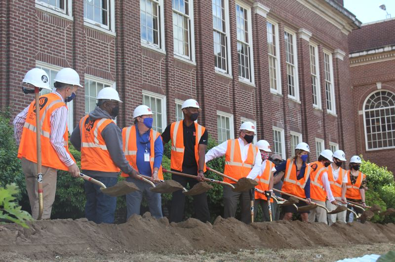 PMG PHOTO: COURTNEY VAUGHN - Portland Public Schools hosted the community for a groundbreaking ceremony to kick off the first phase of construction and renovation at Benson Polytechnic High School in Portland.