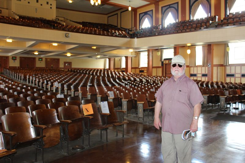 PMG PHOTO: COURTNEY VAUGHN - Ed Wagner graduated Benson Polytechnic High in 1959. On Aug. 7, Wagner revisited the auditorium he graduated in, just before the school closed for a three-year remodel project.
