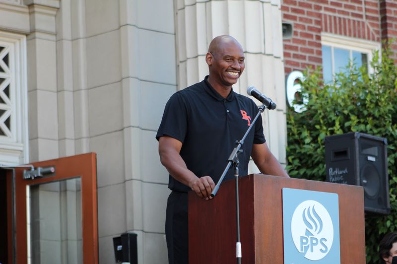 PMG PHOTO: COURTNEY VAUGHN - Curtis Wilson, principal at Benson Polytechnic High School, speaks during a groundbreaking ceremony to commemorate the school's modernization project.