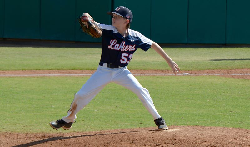 COURTESY PHOTO: KATE COOK - Lake Oswego pitcher Chase Kelly gets ready to deliver during his team's 14-0 win over Idaho in the second game of the Pacific Northwest Regional tournament in San Bernardino, California, on Tuesday, Aug. 10.