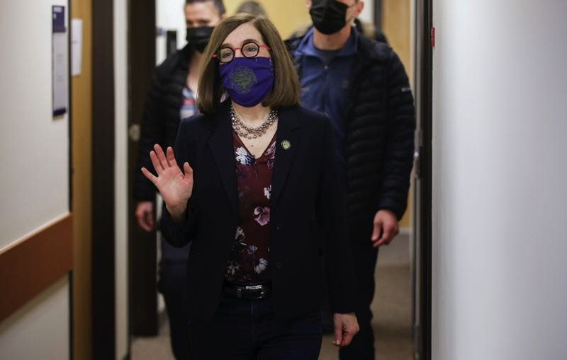PAMPLIN MEDIA: JONATHAN HOUSE - Gov. Kate Brown has ordered most state workers, with limited exceptions under law, to obtain vaccinations against the coronavirus.