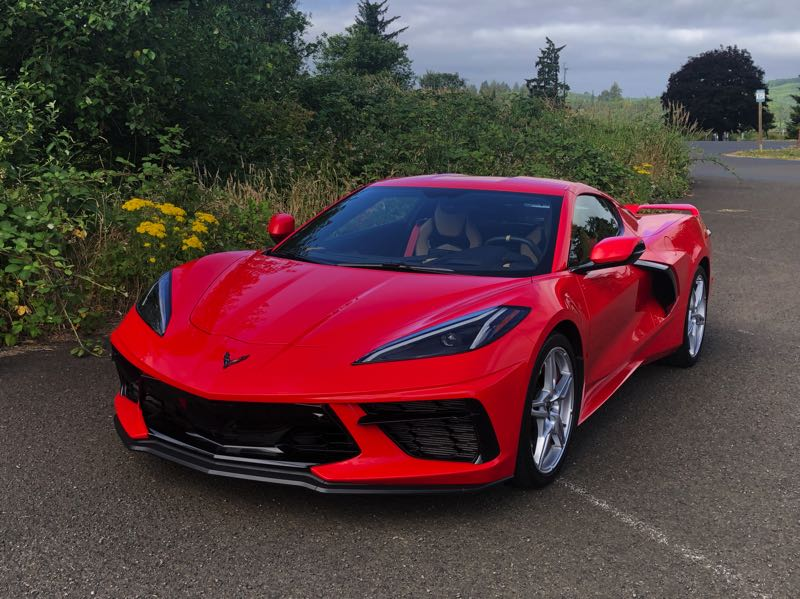 PMG PHOTO: JEFF ZURSCHMEIDE - The front end of the 2022 Chevy Corvette looks traditionally but the huge scoops in front of the rear wheels means the engine in mounted behind the cabin.