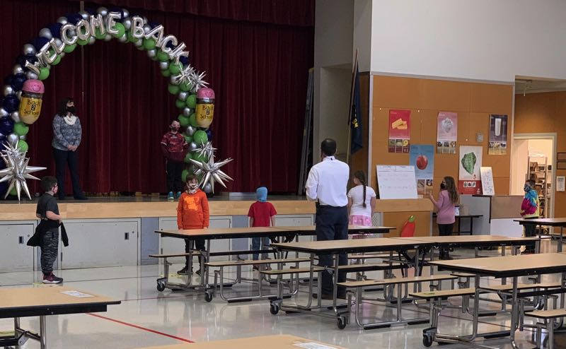 COURTESY PHOTO: ESTACADA SCHOOL DISTRICT - Estacada Elementary school students and staff wore masks and followed social distancing protocols during the first day of in person learning for the 2020-21 school year.