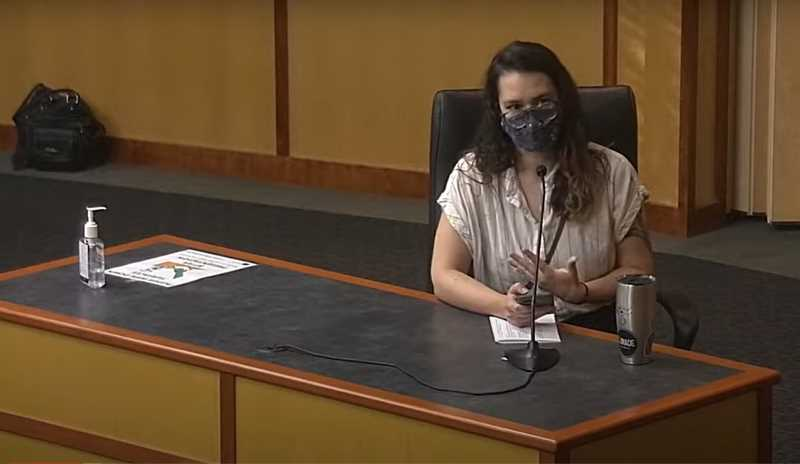 COURTESY PHOTO: MARION COUNTY - Public health professional Kris Bifulco of Salem addresses the Marion County Board of Commissioners on Wednesday, Aug. 11. The BOC passed a resolution opposing mask mandates for k-12 students.