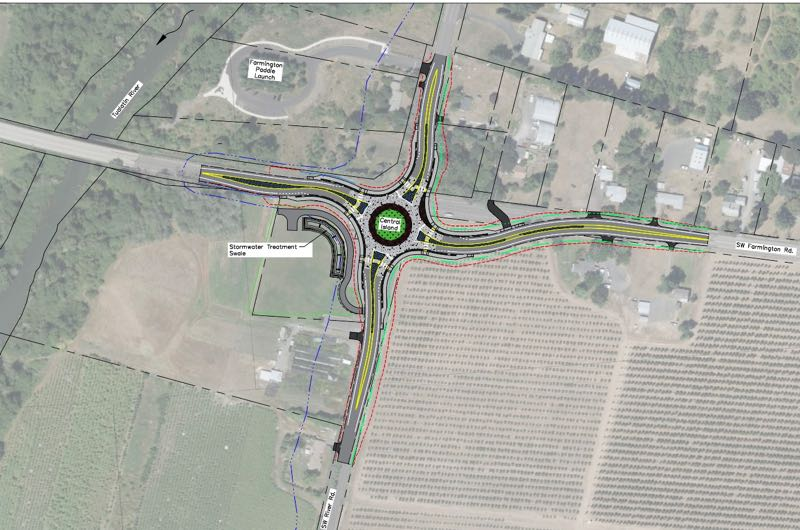 COURTESY MAP: WASHINGTON COUNTY DEPARTMENT OF LAND USE AND TRANSPORTATION - An overhead view depicting the planned roundabout at the intersection of Southwest Farmington and River roads south of Hillsboro. North is up in this view.