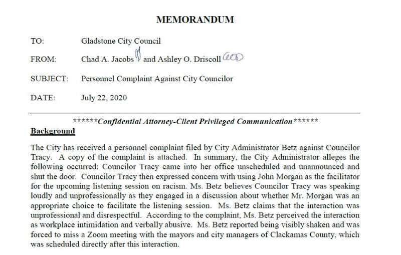 COURTESY PHOTO: CITY OF GLADSTONE - A city attorney's documents related to a complaint against Councilor Matt Tracy were released by the City Council vote on Aug. 10.