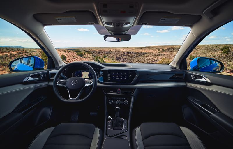 COURTESY VOLKSWAGEN - The interior of the 2022 Toas is classic Volkswagen with a clean design and high quality materials for a small crossover SUV.