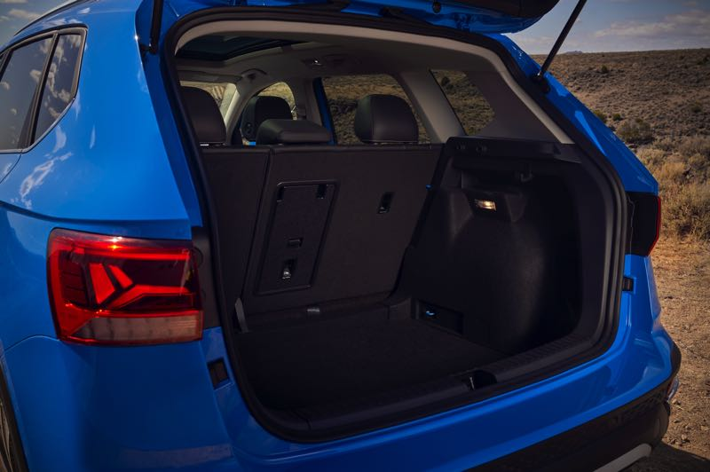 COURTESY VOLKSWAGEN - Rear cargo space in the 2022 Volkswagen Taos  is very reasonable for such a small SUV.