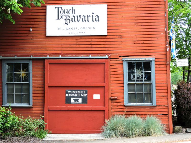 COURTESY PHOTO: NANCY LEHTO - The 116-year-old Windischar-Weissenfels General Blacksmith Shop on Sheridan Street in Mt. Angel will use a state Preserving History grant to make necessary repairs. The building housed one of Oregon's last operating blacksmith shops. A gift shop is in part of the structure.