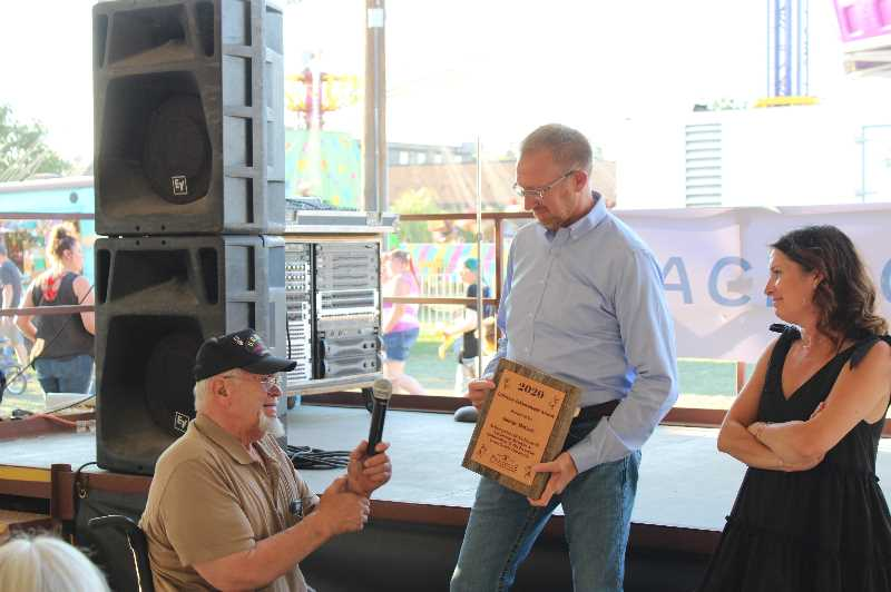 JENNIFFER GRANT - Casey Kaiser (middle) and Chamber Director Kim Daniels give George McCart (left) the Lifetime Achievement award.