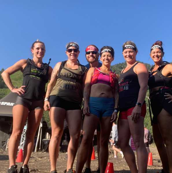 COURTESY PHOTO - Pictured, from left: Rachel Bare, Leah Basse, Ian Nelson, Nina Nelson, Jennifer Holcomb and Amy McMahan pose after a Spartan Race event.