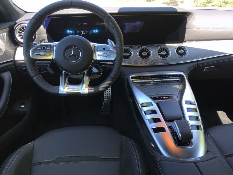 """PMG PHOTO: JEFF ZURSCJMEIDE - The 2021 Mercedes-AMG 43GT offers every advanced automotive technology, including its own """"Hey Mercedes"""" voice control function."""