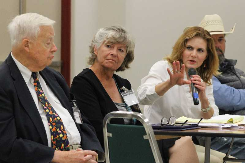 PAT KRUIS/MADRAS PIONEER - Left to right, Attorney Gary Baise, specializes in agriculture-environmental cases; Karen Budd-Falen, worked on the ESA under Trump; Aubrey Bettencourt, worked on water and science issues for the Departmet of the Interior; Dave Duquette of Western Justice, political activist for agriculture.